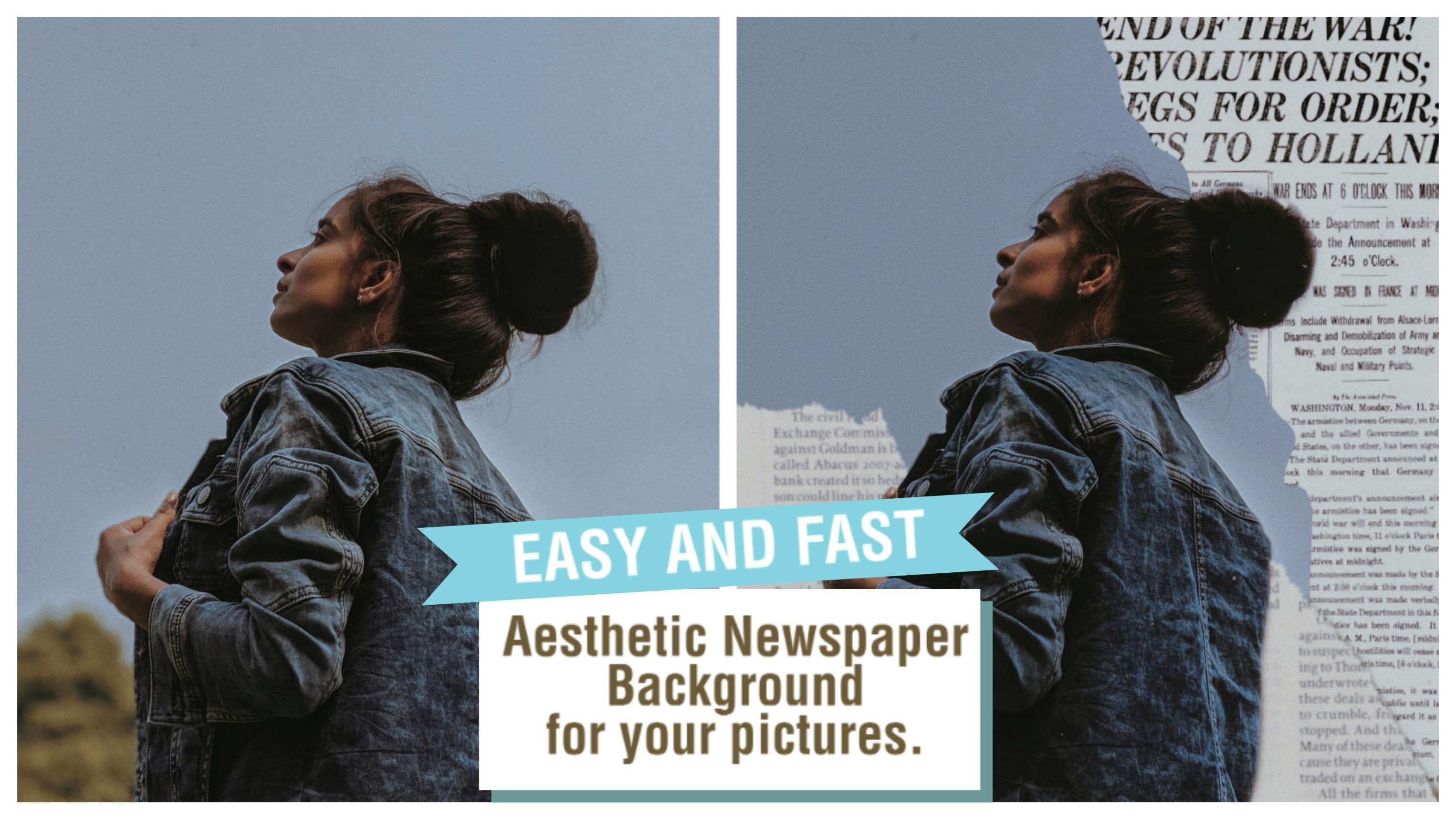 How To Add Aesthetic Newspaper background to a Photo:- Picsart Editing Tutorial